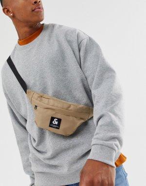 Светло-бежевая сумка-кошелек на пояс Jack & Jones. Цвет: светло-бежевый