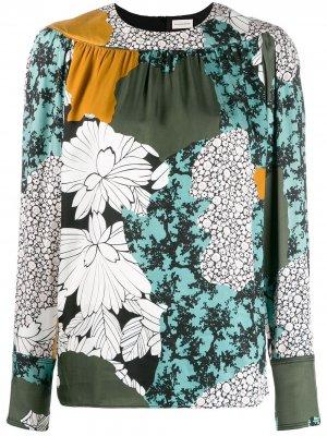 Блузка с цветочным принтом By Malene Birger. Цвет: зеленый
