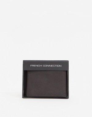 Кожаный бумажник c золотистым логотипом Рremium-Коричневый цвет French Connection