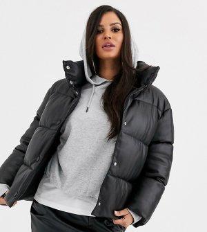 Дутая куртка в кожаном стиле ASOS DESIGN Petite-Черный Petite