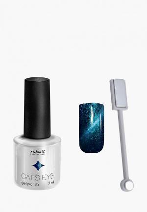Набор для ухода за ногтями Runail Professional магнит и Гель-лак Cat's eye серебристый блик, цвет: Шантильи тиффан. Цвет: бирюзовый