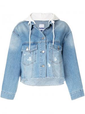 Укороченная джинсовая куртка с капюшоном SJYP