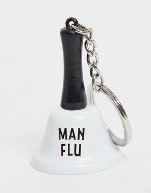 Брелок для ключей в виде колокольчика с надписью man flu -Серебристый Dapper Chap