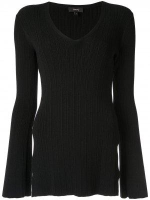 Приталенный пуловер с V-образным вырезом Theory. Цвет: черный