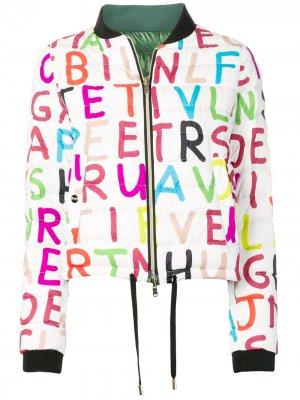 Дутая куртка-бомбер с принтом Herno. Цвет: белый