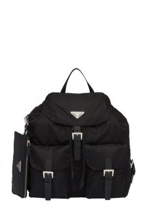 Черный рюкзак из экологичного материала Prada. Цвет: черный