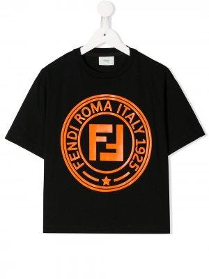 Футболка с логотипом Fendi Kids. Цвет: черный
