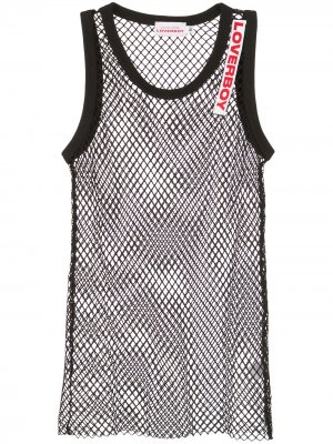 Logo embroidered mesh vest Charles Jeffrey Loverboy. Цвет: черный