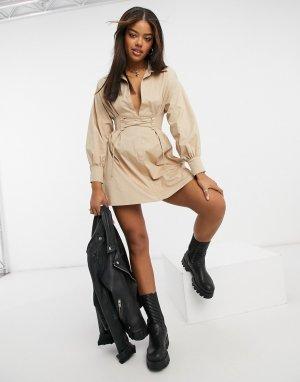 Бежевое корсетное платье-рубашка -Бежевый Bershka