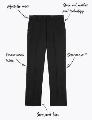 Узкие школьные брюки для мальчиков Marks & Spencer. Цвет: черный