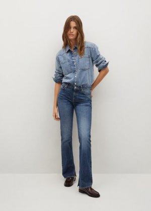 Прямые джинсы с разрезом - Bonny-i Mango. Цвет: темно-синий