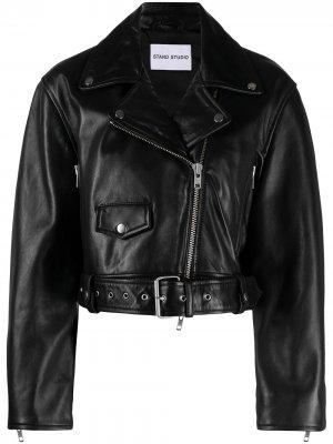 Укороченная байкерская куртка STAND STUDIO. Цвет: черный