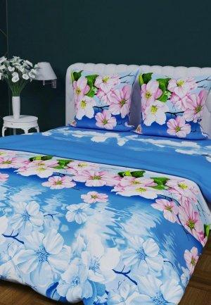 Постельное белье Евро Текстильная лавка. Цвет: голубой