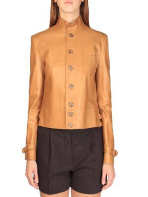 Кожаная куртка Ralph Lauren. Цвет: бежевый