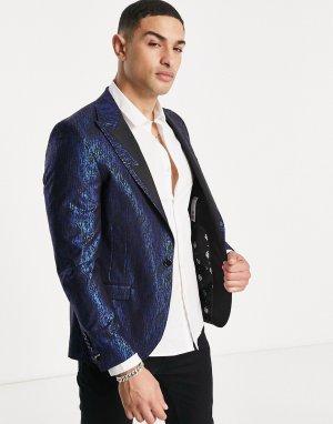 Черный пиджак с голубовато-синим фольгированным принтом -Черный цвет Twisted Tailor