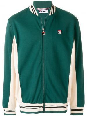 Куртка-бомбер с заплаткой логотипом Fila. Цвет: зелёный