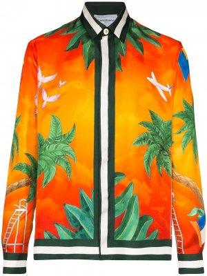 Рубашка с принтом Casablanca. Цвет: оранжевый