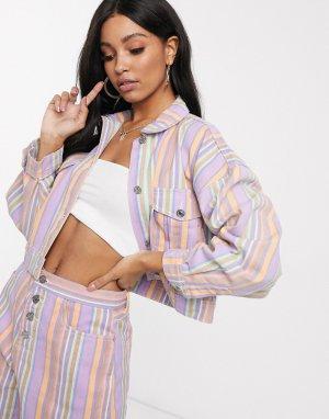 Джинсовая куртка от комплекта в полоску -Многоцветный Missguided