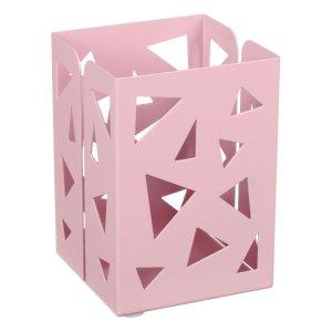 Стакан для пишущих принадлежностей квадратный узор металл пастель розовый Calligrata
