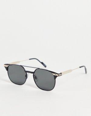 Солнцезащитные очки-авиаторы в стиле унисекс из комбинированных металлов черного цвета с золотистыми элементами Grit-Черный цвет Spitfire
