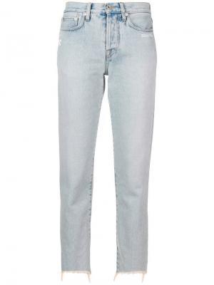 Укороченные зауженные джинсы Off-White. Цвет: синий