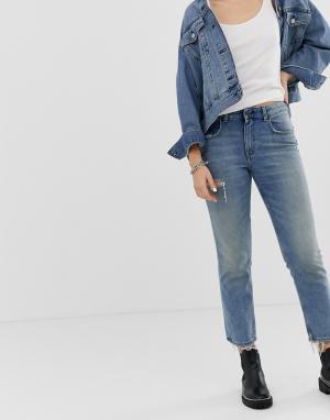 Укороченные джинсы в винтажном стиле из плотного денима с рваной отделкой -Синий Cheap Monday