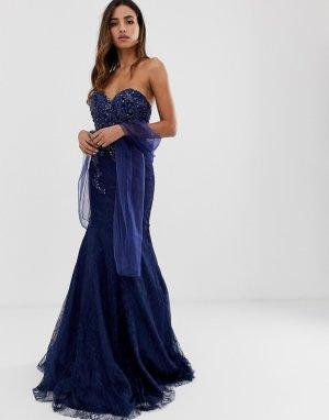 Кружевное платье макси -Темно-синий Jovani