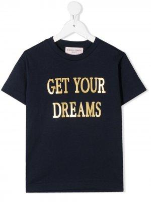 Graphic-print cotton T-Shirt Alberta Ferretti Kids. Цвет: синий