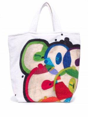 Пляжная сумка и покрывало 2020-х годов с логотипом Chanel Pre-Owned. Цвет: белый