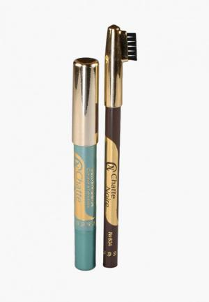 Набор для макияжа бровей Chatte Noire Карандаш + Карандаш-тени №118 3,46. Цвет: разноцветный