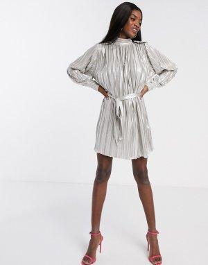 Серебристое платье мини металлик с плиссировкой -Розовый цвет Forever U