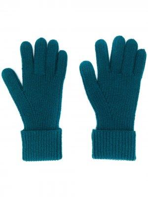 Перчатки в рубчик N.Peal. Цвет: зеленый