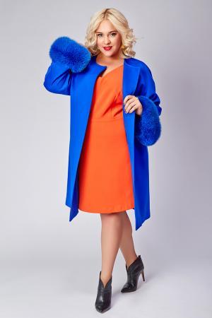 Женское пальто большого размера с мехом Heresis. Цвет: васильковый