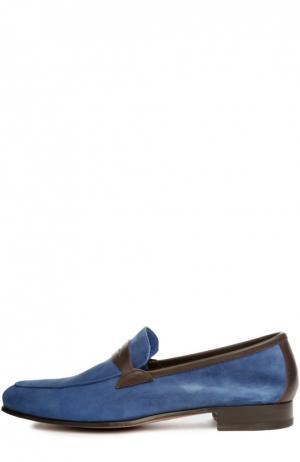 Замшевые лоферы с кожаной отделкой Castori. Цвет: голубой