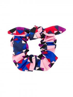 Повязка на голову с геометричным узором и бантом Emilio Pucci Junior. Цвет: розовый