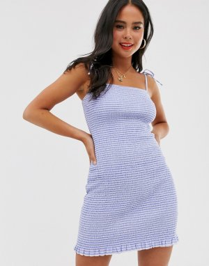 Присборенное платье мини в полоску -Мульти Abercrombie & Fitch
