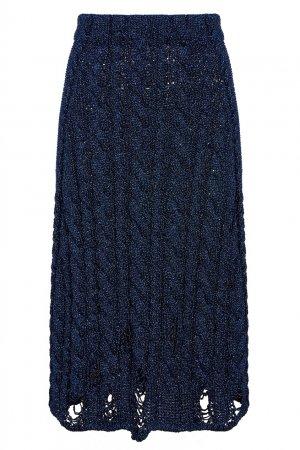 Синяя трикотажная юбка с люрексом Balenciaga. Цвет: синий
