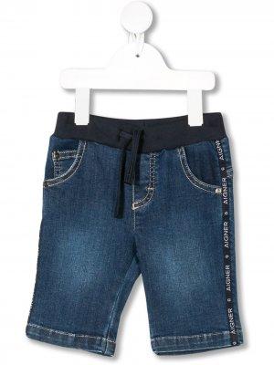 Джинсовые шорты с эластичным поясом Aigner Kids. Цвет: синий