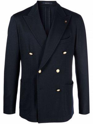 Двубортный пиджак с заостренными лацканами Tagliatore. Цвет: синий