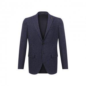 Пиджак из смеси шерсти и хлопка Sartoria Latorre. Цвет: синий