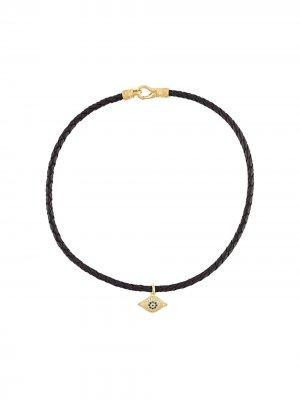 Чокер с подвеской Evil Eye Nialaya Jewelry. Цвет: черный