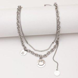 Мужское ожерелье со смайликом SHEIN. Цвет: серебряные