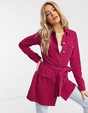 Джинсовая куртка с поясом малинового цвета -Розовый Missguided