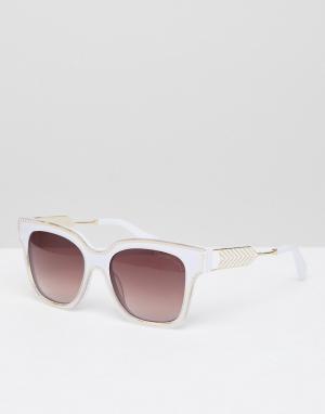 Квадратные солнцезащитные очки в оправе кремового цвета Christian Lacroix La Croix. Цвет: белый