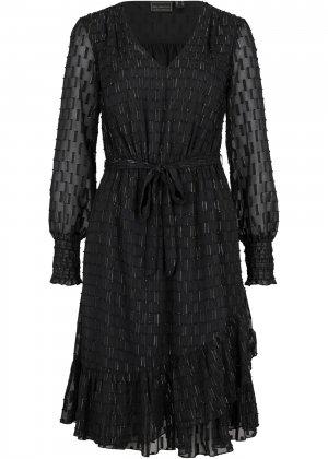 Платье из шифона bonprix. Цвет: черный