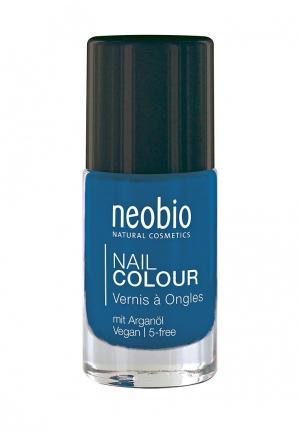 Лак для ногтей Neobio №08 5-FREE, с аргановым маслом. Сияющий синий. Цвет: синий