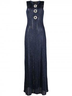 Длинное декорированное платье Azzaro. Цвет: синий