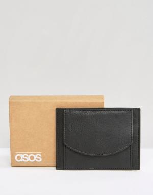 Кожаная визитница с кармашком для монет ASOS. Цвет: черный