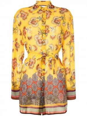 Блузка Foley с цветочным принтом Alexis. Цвет: желтый