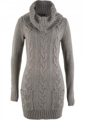 Вязаное платье bonprix. Цвет: серый